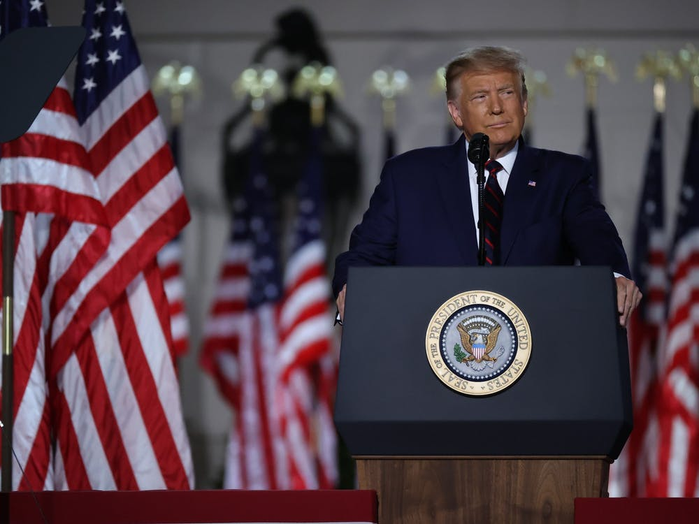 President Donald Trump delivers his acceptance speech for the Republican presidential nomination on the South Lawn of the White House on Aug. 27 in Washington, D.C.