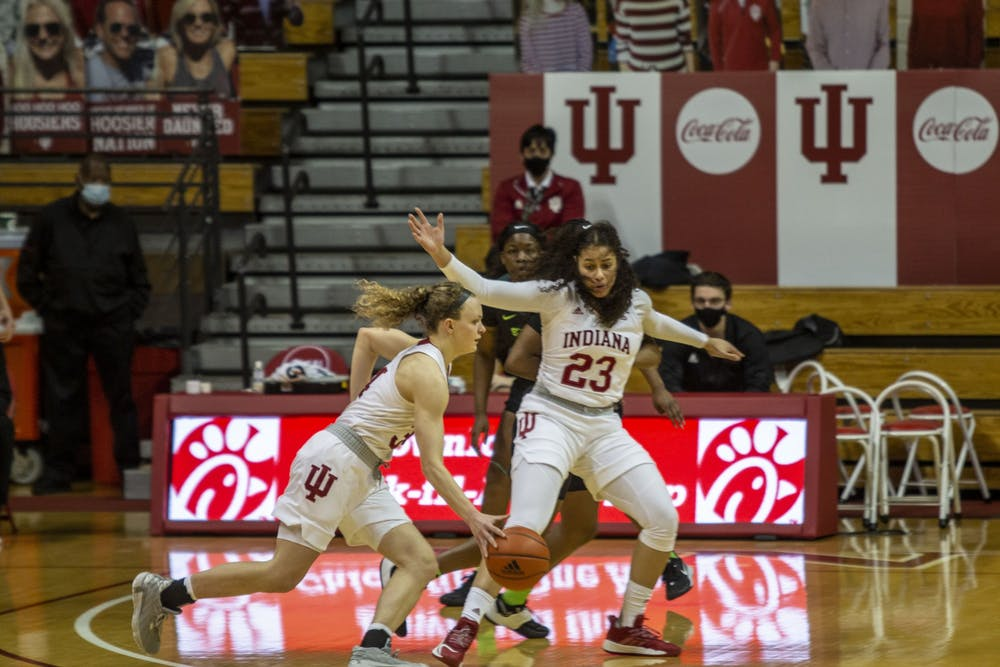 Freshman forward Kiandra Browne sets a screen for junior guard Grace Berger on Jan. 31 in Simon Skjodt Assembly Hall. No. 16 IU defeated Michigan State 79-67 after trailing by 8 points at halftime.