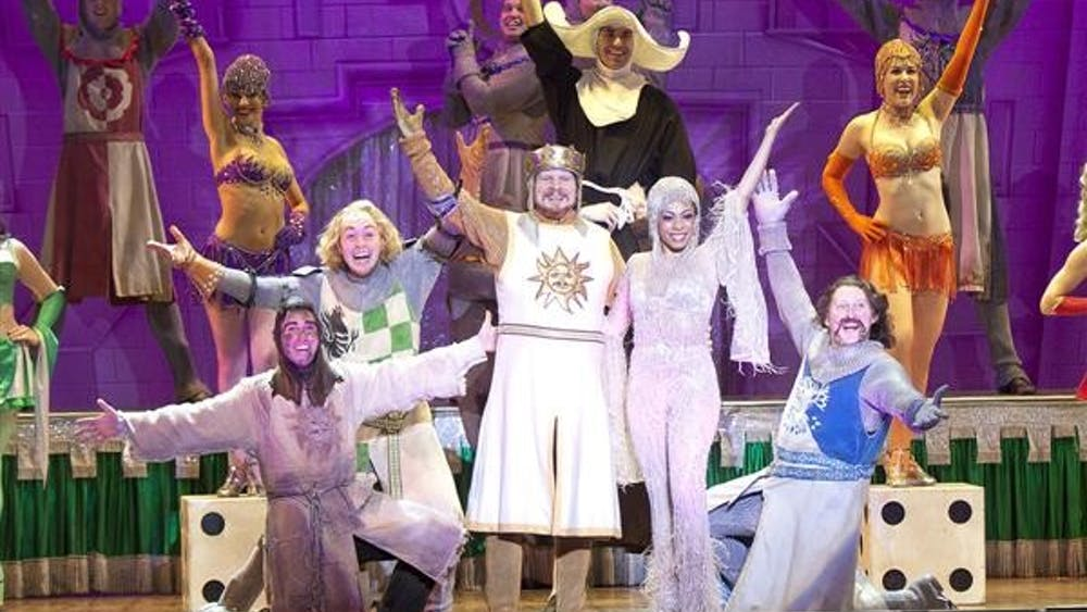 Monty Python's Spamalot, the Broadway musical that spoofs the 1975 film Monty Python and the Holy Grail, will be at the IU Auditorium tonight at 8:00 PM.