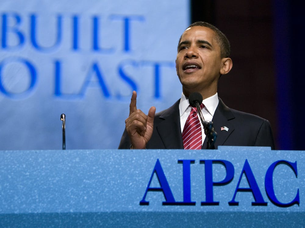Former President Barack Obama speaks June 4, 2008, at the American Israel Public Affairs Committee policy conference in Washington, D.C.