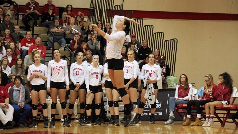 Senior Indiana University Megan Tallman serves as she and her IU volleyball team play against Nebraska on Saturday.