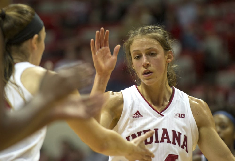 <p>Redshirt junior Ali Patberg high-fives teammates after making a free throw Nov. 17 in Simon Skjodt Assembly Hall. Patberg was named Big Ten player of the week today, and IU&#x27;s women&#x27;s basketball team moved to No. 14 in the AP poll.</p>