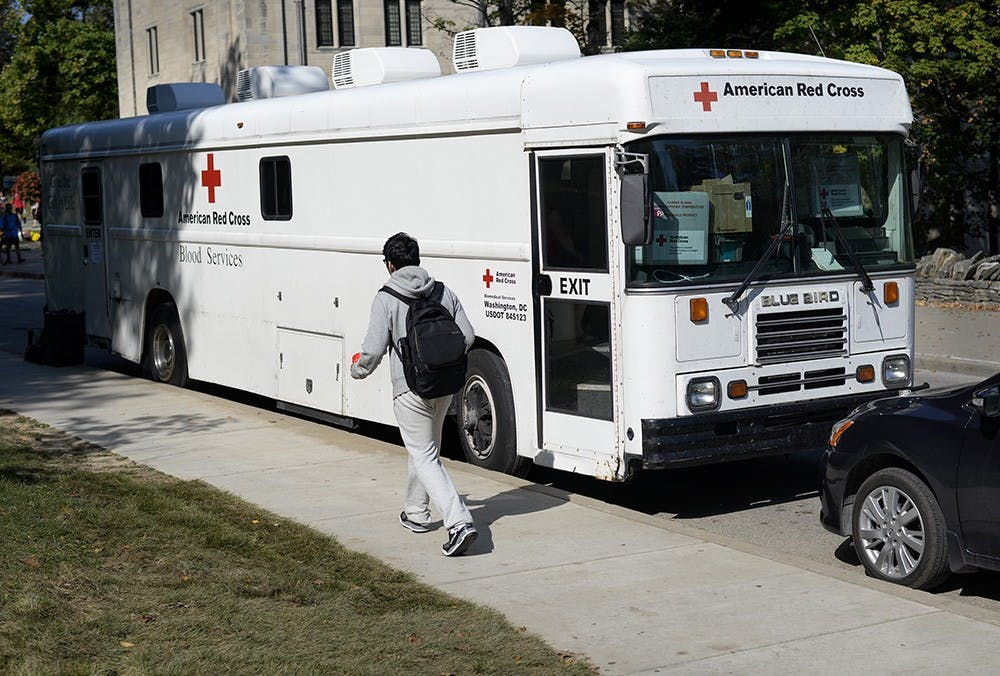 The American Red Cross blood donation truck makes regular stops outside Ballantine Hall to promote students to donate blood.