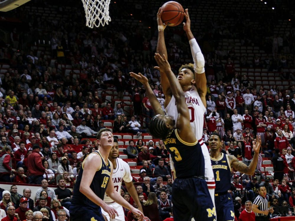 Freshman guard Romeo Langford goes up for a shot on Jan. 25 at Simon Skjodt Assembly Hall. IU lost to Michigan, 69-46.