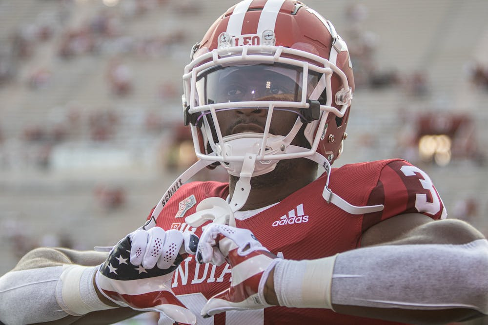 Defensive back Bryant Fitzgerald holds his hands in the shape of a heart prior to Indiana's football game against Idaho on Sept. 11, 2021, at Memorial Stadium. Indiana will play No. 8 Cincinnati on Saturday in front of a sold out crowd at Memorial Stadium.
