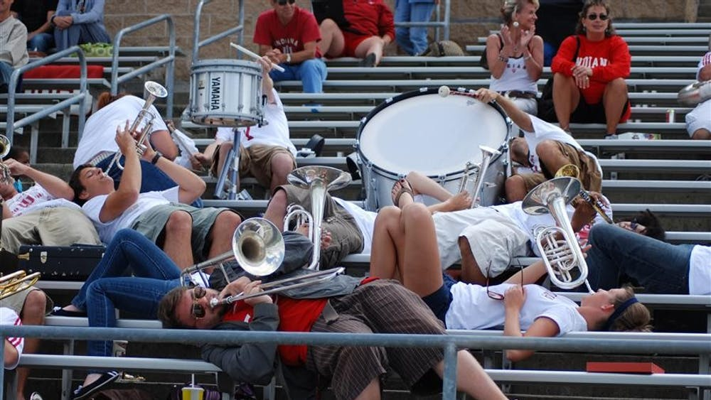 """Members of the Crabb Band play the soft part of """"Shout"""" early in the first half of a women's soccer game against Central Michigan on August 30, 2009, at Bill Armstrong Stadium. The Crabb Band plays for multiple IU sports teams, including soccer and baseball."""