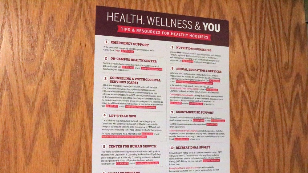 The Health and Wellbeing Committee, an IU Student Government advocacy group, works to inform students about mental health. The committee placed posters in various residence halls to show students relevant resources and information on mental health.
