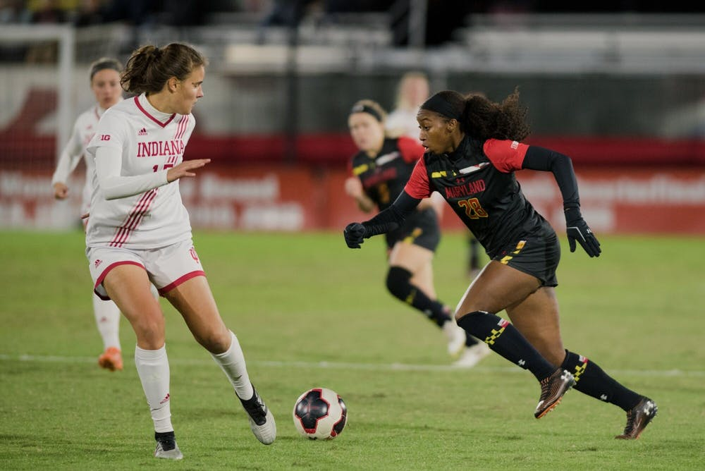 <p>Then-junior Hanna Németh looks to block a Maryland player Oct. 17 in College Park, Maryland. Németh was named a recipient of the Big Ten Medal of Honor on Thursday.</p>