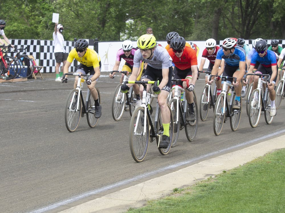 Riders race on the track during the Men's Little 500 race Wednesday at Bill Armstrong Stadium.