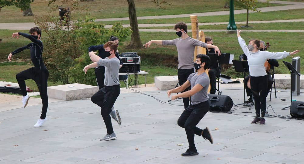 <p>Ballet students perform in the Conrad Prebys Amphitheater as part of the Jacobs School of Music Outdoor Spaces Performance Series Oct. 2, 2020. The Jacobs School of Music will offer virtual music and art-themed events for IU students this semester.</p>