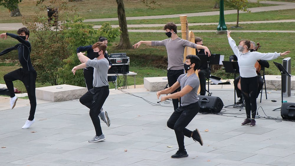 Ballet students perform in the Conrad Prebys Amphitheater as part of the Jacobs School of Music Outdoor Spaces Performance Series Oct. 2, 2020. The Jacobs School of Music will offer virtual music and art-themed events for IU students this semester.