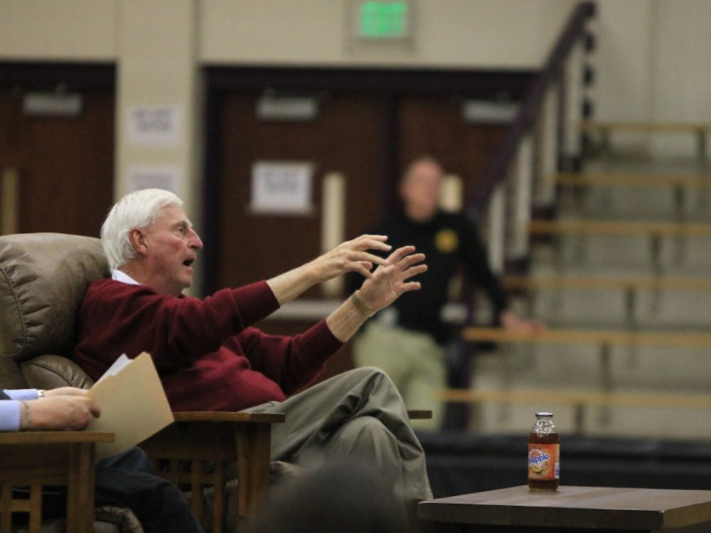 Former IU men's basketball coach Bob Knight describes how he was tossed off the court while in the middle of a basketball game he played in. Knight spoke at the event Spend an Evening With Bob Knight on Wednesday, Feb. 28, at Bloomington High School South.