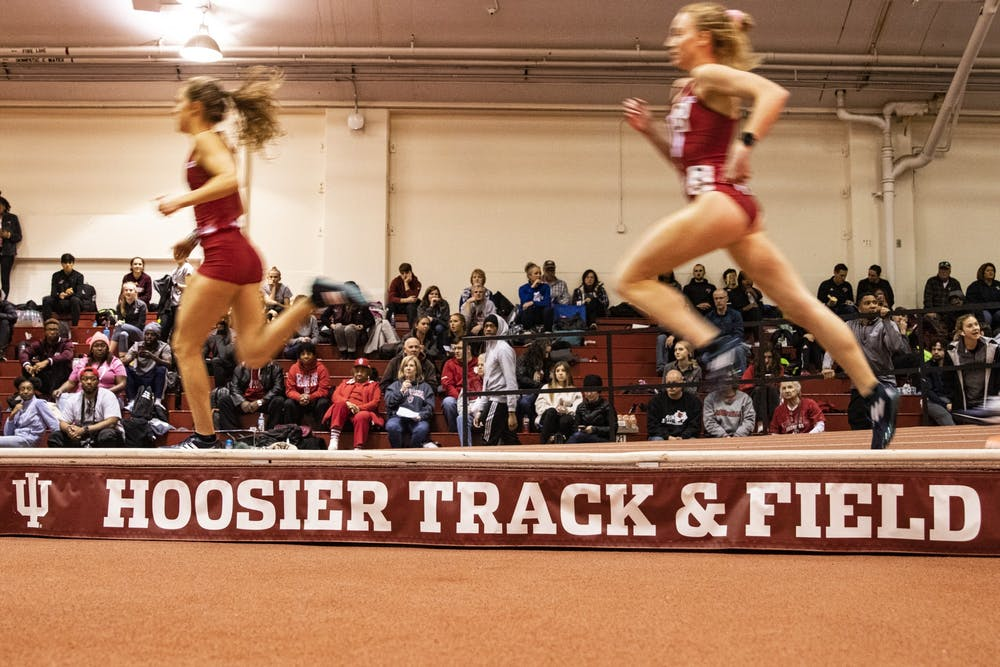 <p>IU sprinters run  the 800 meter run Feb. 14 in Gladstein Fieldhouse. IU wrapped up the regular season on Saturday afternoon at the Alex Wilson Invite in Notre Dame, Indiana.</p>