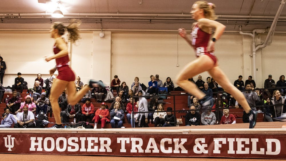 IU sprinters run  the 800 meter run Feb. 14 in Gladstein Fieldhouse. IU wrapped up the regular season on Saturday afternoon at the Alex Wilson Invite in Notre Dame, Indiana.