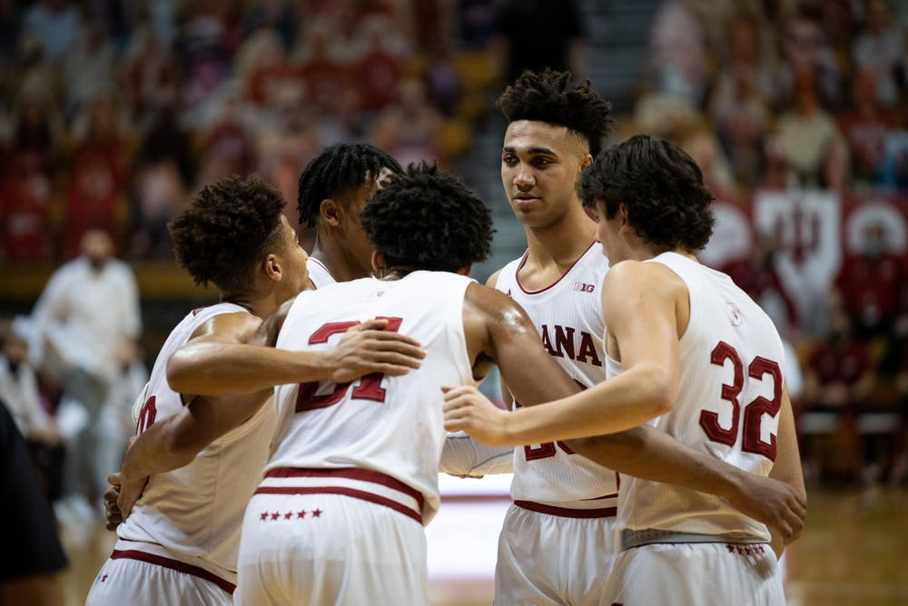 <p>The IU men&#x27;s basketball team huddles Jan. 14 at Simon Skjodt Assembly Hall. The Hoosiers will play 11 non-conference games this season, including nine games at home. </p>