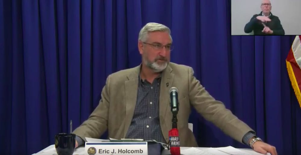 <p>Gov. Eric Holcomb speaks Wednesday over Zoom during a weekly virtual briefing about the COVID-19 pandemic. Holcomb said than 50% of Indiana residents over the age 65 have scheduled or received their first vaccine.</p>