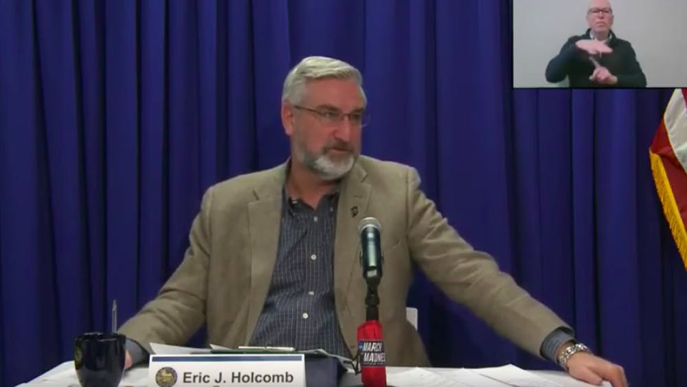 Gov. Eric Holcomb speaks Wednesday over Zoom during a weekly virtual briefing about the COVID-19 pandemic. Holcomb said than 50% of Indiana residents over the age 65 have scheduled or received their first vaccine.