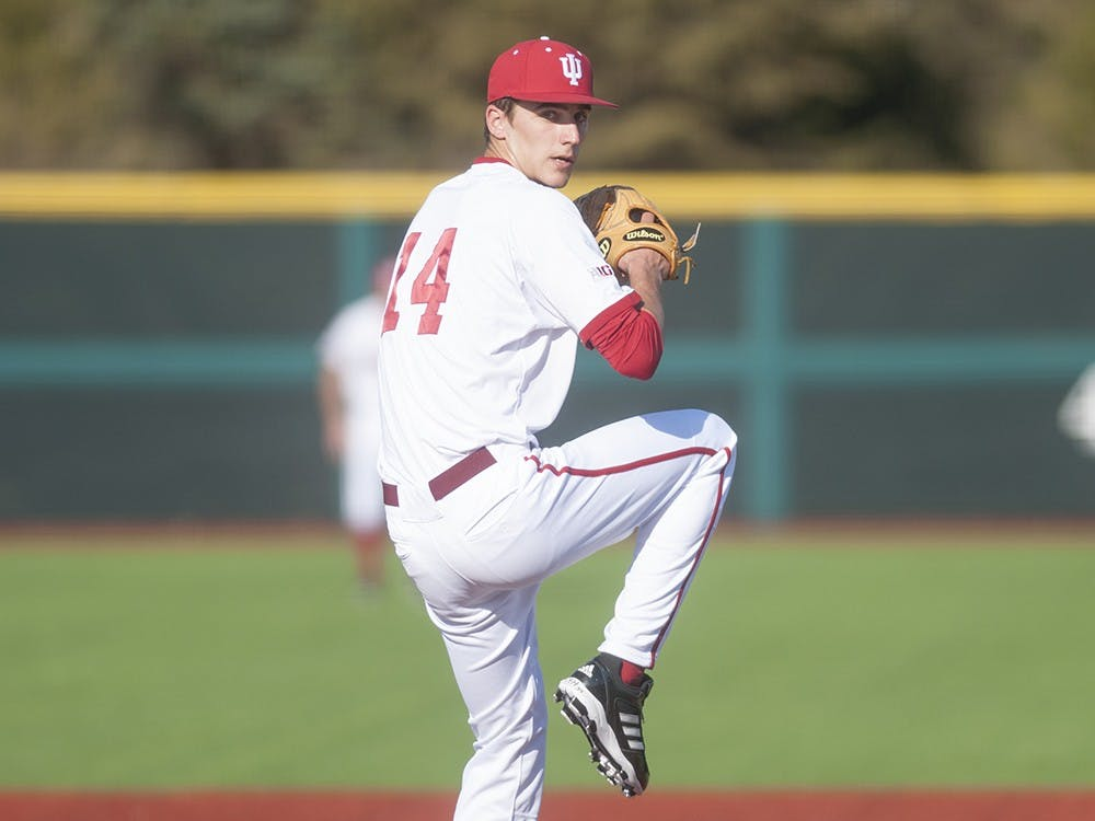 Then-junior Kyle Hart pitches during IU's game against Kentucky on March 11 at Bart Kaufman Field.