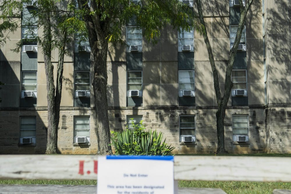 <p>Caution signs are posted outside of Ashton Residence Center. Ashton served as the university&#x27;s quarantine housing for COVID-19 positive students living on campus in fall 2020. </p>
