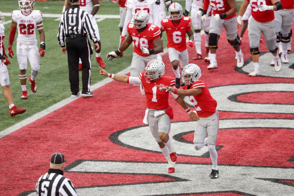 <p>Ohio State quarterback Justin Fields celebrates after scoring a touchdown Nov. 21 against IU in Columbus, Ohio. Ohio State&#x27;s game against Michigan was canceled Tuesday, which would put IU in the Big Ten Championship game against Northwestern and former IU quarterback Peyton Ramsey on Dec. 19 in Indianapolis.</p>