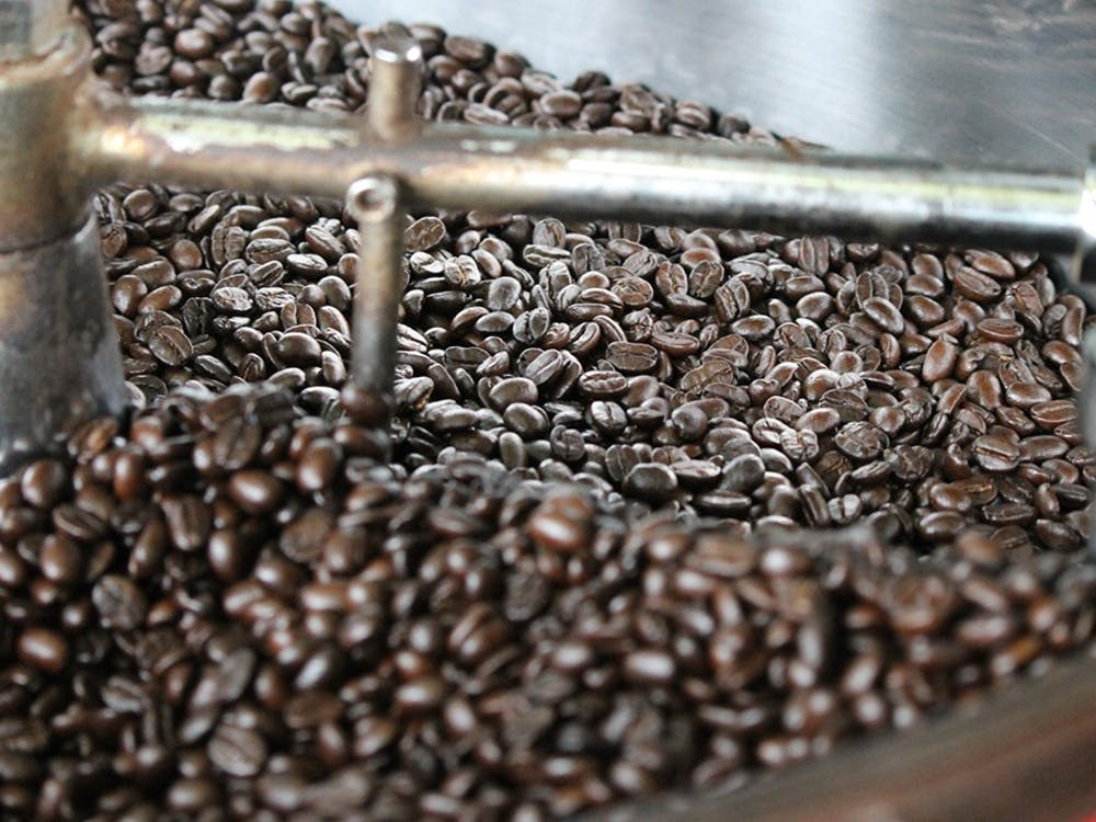 Laura's Ethiopian Harrar is a dark roast, so the beans are shinier, because darker roasts are oilier.