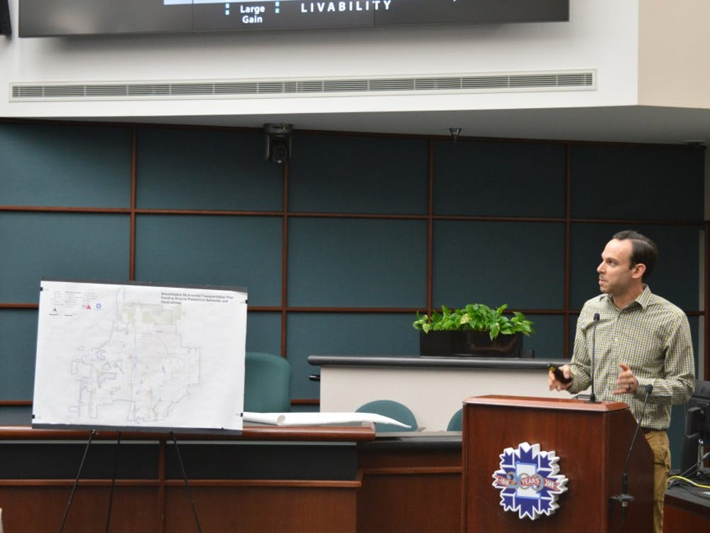 Ken Ray, senior landscape architect for Toole Design Group, presents a preliminary transportation plan for Bloomington in January 2018 at City Hall. The group has been working with Bloomington on their transportation plan and has released the final draft which will be presented on July 12.