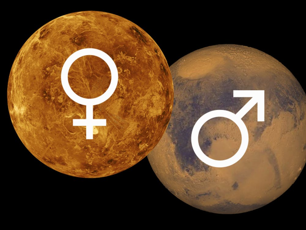 The astrological glyphs for Venus and Mars are used to symbolize the female-male gender binary.