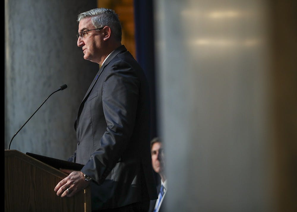 Gov. Eric Holcomb speaks at the press conference on the opioid crisis initiative at the Indiana State House on Oct. 10, 2017, in Indianapolis.