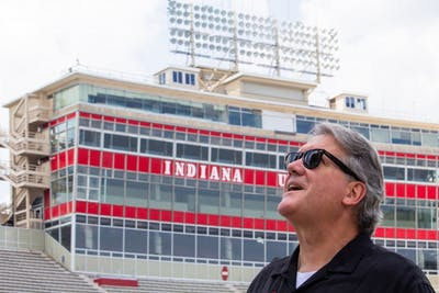 IU Athletic Director Fred Glass looks up at the new south end zone scoreboard July 25, 2018 at Memorial Stadium.