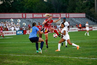 Junior Chandra Davidson attempts to score in the final seconds of regulation time Sept. 13 at Bill Armstrong Stadium. IU lost at Illinois, 1-0, on Sunday afternoon.