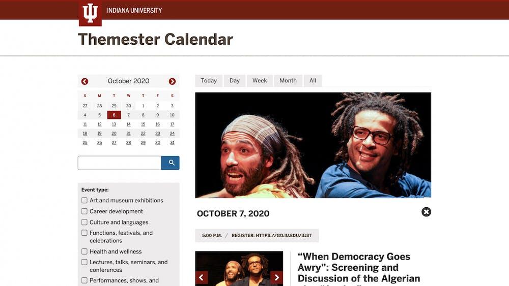 A screen grab from the IU Themester's website calendar