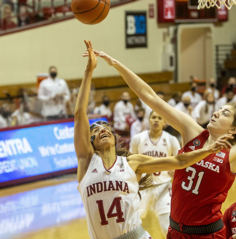 Senior Ali Patberg shoots a layup Dec. 20 at Simon Skjodt Assembly Hall. Patberg wore a protective mask after getting hurt in Thursday's game against the University of Tennessee.