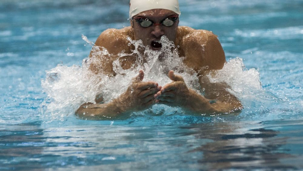 Senior Cody Miller swims in the 200 yard breaststroke during the meet against University of Kentucky and University of Tennessee on NOV, 1, 2013 at the Counsilman-Billingsley Aquatic Center. Miller finished with a time of 2:04.26.