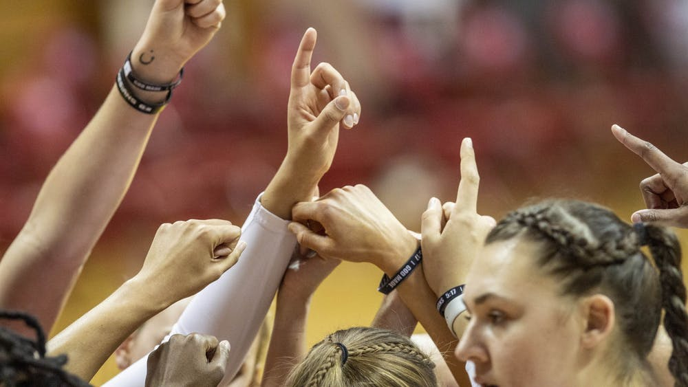 The Indiana women's basketball team huddles up during its loss against the University of Tennessee Dec. 17, 2020, at Simon Skjodt Assembly Hall. The Hoosiers' matchup against Rutgers, originally scheduled for Jan. 18, has been postponed due to COVID-19-related concerns on the Rutgers team.