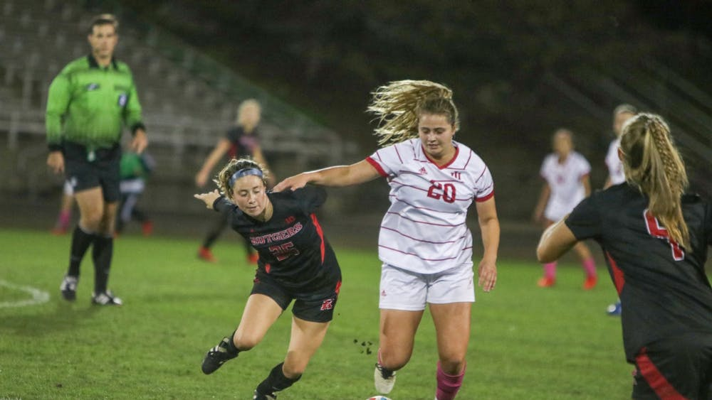 IU sophomore forward Jen Blitchok goes to kick the ball Oct. 21, 2021, in Bill Armstrong Stadium. Indiana lost to Rutgers 0-2.