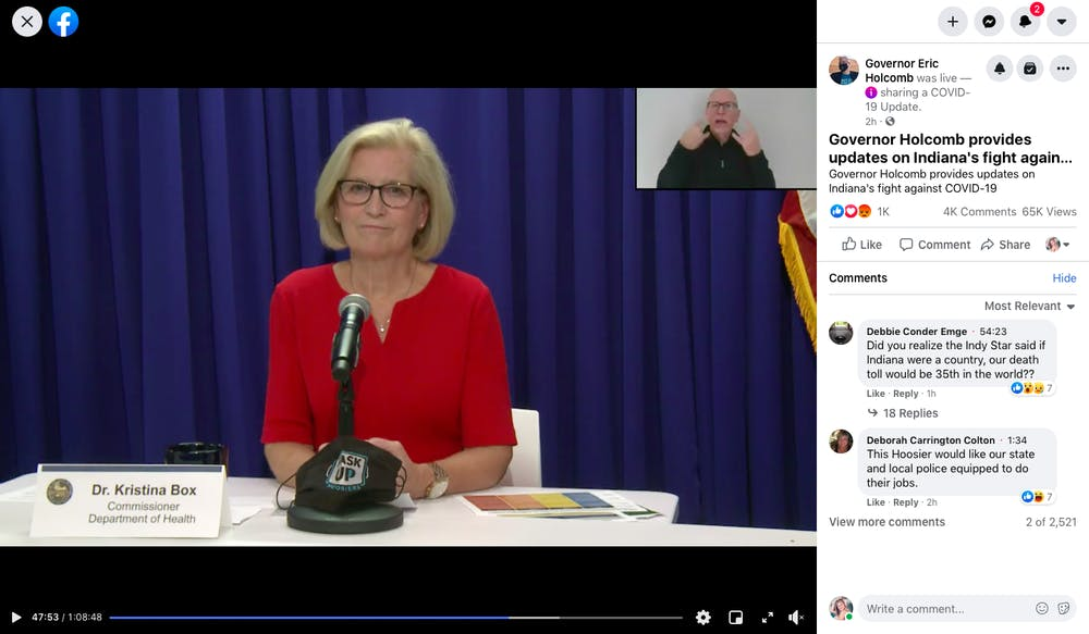<p>Dr. Kristina Box speaks Wednesday during Gov. Eric Holcomb's press conference over Zoom. Holcomb is currently quaranting. </p>