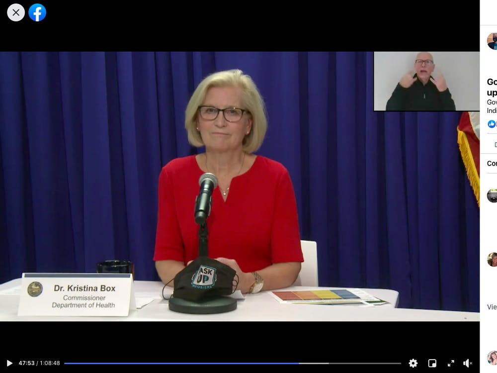 Dr. Kristina Box speaks Wednesday during Gov. Eric Holcomb's press conference over Zoom. Holcomb is currently quaranting.