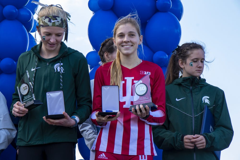 <p>IU sophomore Bailey Hertenstein holds her second place trophy Nov. 3 at the Big Ten Championship at Ohio State University Golf Club in Columbus, Ohio. The IU women&#x27;s team finished eighth in the meet.</p>