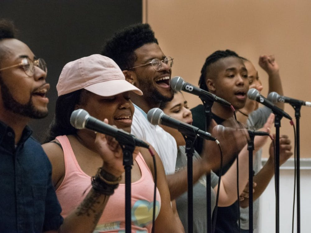 Singers of the IU Soul Revue rehearse in 2018 in the Neal-Marshall Grand Hall. Portia Maultsby, IU professor emerita of ethnomusicology, will discuss the history of the IU Soul Revue from 4:30 p.m. to 5:30 p.m. Oct. 27 via Zoom.