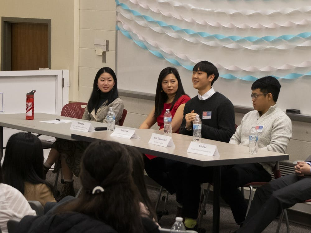 A panel of Asian American and Pacific Island professionals speaks to students about pursuing their careers Saturday in Hodge Hall. The workshop discussion was part of the Indiana Asian American Conference which hopes to teach participants about the diversity of AAPI identities and to inspire professional aspirations according to the event website.