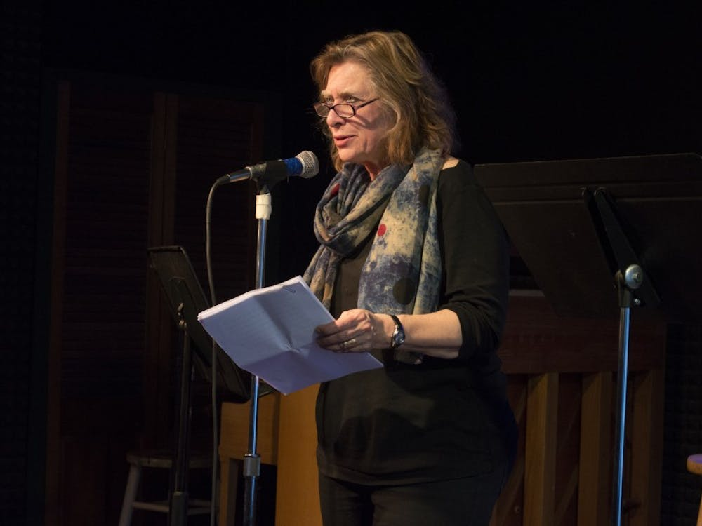 IU Media School professor Joan Hawkins introduces the next act in Players Pub Spoken Word Series in March of 2017. The Writers Guild of Bloomington will present the Players Pub Spoken Word Series, 6 to 9 p.m. April 12.