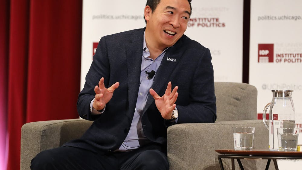 Andrew Yang talks Dec. 5, 2019, with David Axelrod,an American political consultant and analyst, at the University of Chicago.