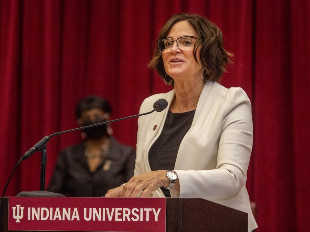 Melanie Walker, IU presidental search committee chair, speaks in Neal Marshall Grand Hall. Indiana University trustee Melanie Walker has died, according to a press release from the university Sunday.