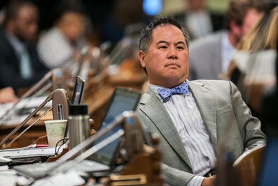 Assembly Member Philip Y. Ting listens Sept. 11, 2015, to fellow lawmakers discuss legislation on the assembly floor in Sacramento, California.