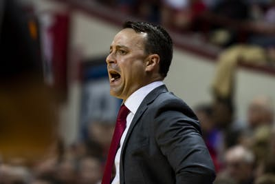 IU men's basketball head coach Archie Miller yells during the first half Nov. 12 in Simon Skjodt Assembly Hall. IU defeated North Alabama University 91-65.