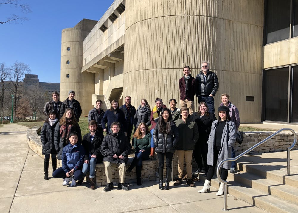 <p>Members of the IU New Music Ensemble pose for a photo Feb. 14 outside the Musical Arts Center. The ensemble will perform at 8 p.m. on March 5 in Auer Hall.</p>