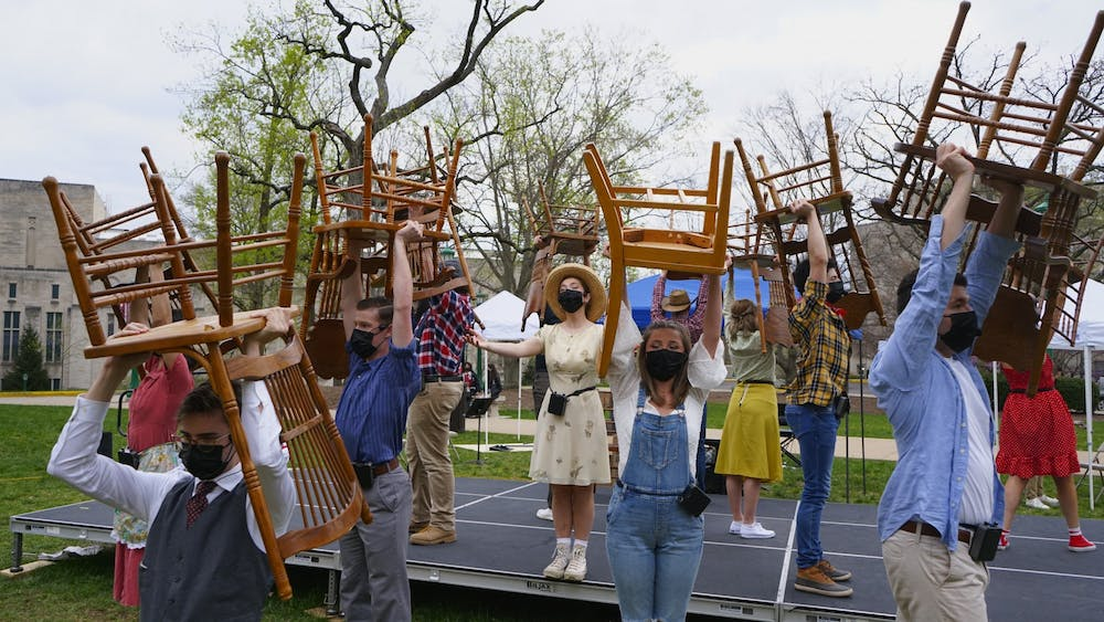 <p>University Players perform during their outdoor production &quot;Bright Star.&quot; To maintain IU's COVID-19 protocol while performing, University Players purchased hand sanitizer, a thermometer and implemented other safety measures. </p>