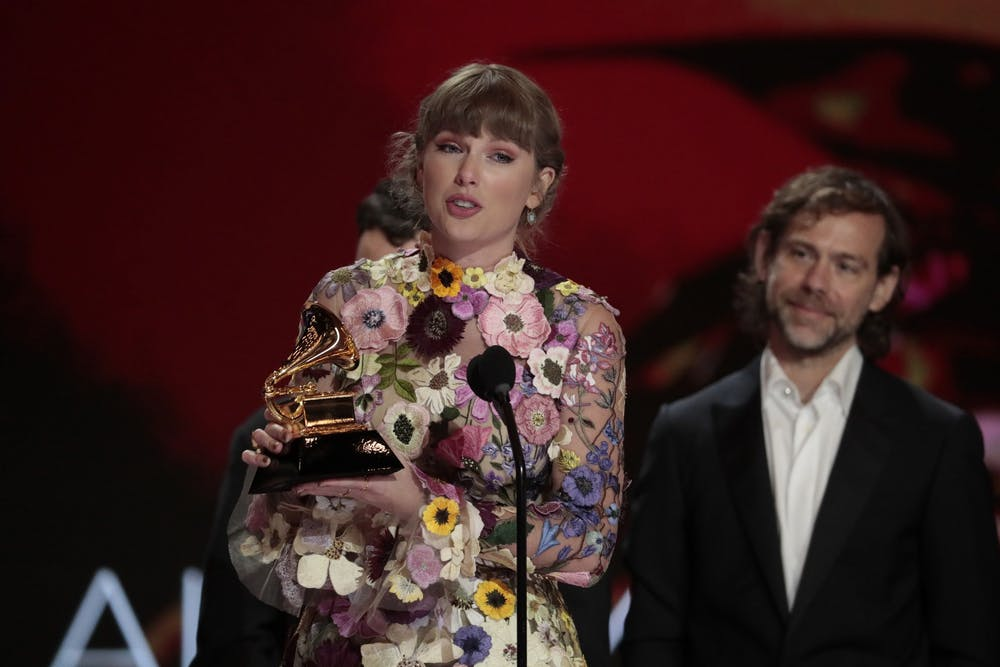 <p>Taylor Swift accepts the award for Album of the Year at the 63rd Grammy Awards on March 14 outside the Staples Center in Los Angeles. Swift released her new album &quot;Fearless (Taylor&#x27;s version),&quot; a rerecorded version of her 2008 &quot;Fearless&quot; album, on April 9.</p>