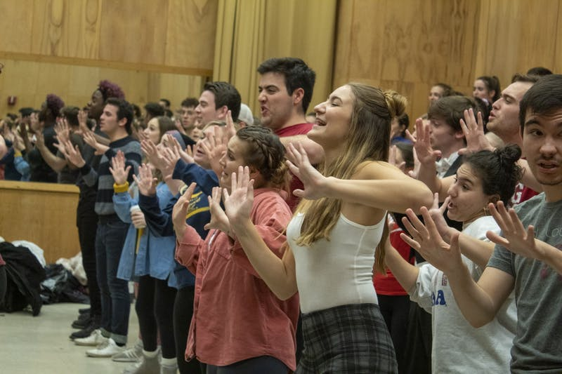"The Singing Hoosiers practice Nov. 18 in the Musical Annex building. The performance of ""Chimes of Christmas"" will take place at 2 p.m. and 7:30 p.m.Dec. 2."