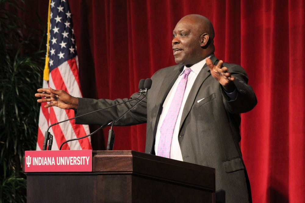 <p>IU trustee William Quinn Buckner speaks about his relationship with George Taliaferro on Nov. 1, 2020 at Memorial Stadium. Buckner was elected chair of the IU Board of Trustees Tuesday.</p>